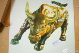 股市金牛铜牛彩铅画教程 手绘步骤图片 铜牛的彩铅画画法 怎么画