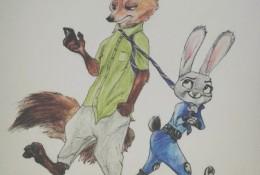 疯狂动物城兔子和狐狸的彩铅画手绘教程图片 疯狂动物城彩铅画法 怎么画