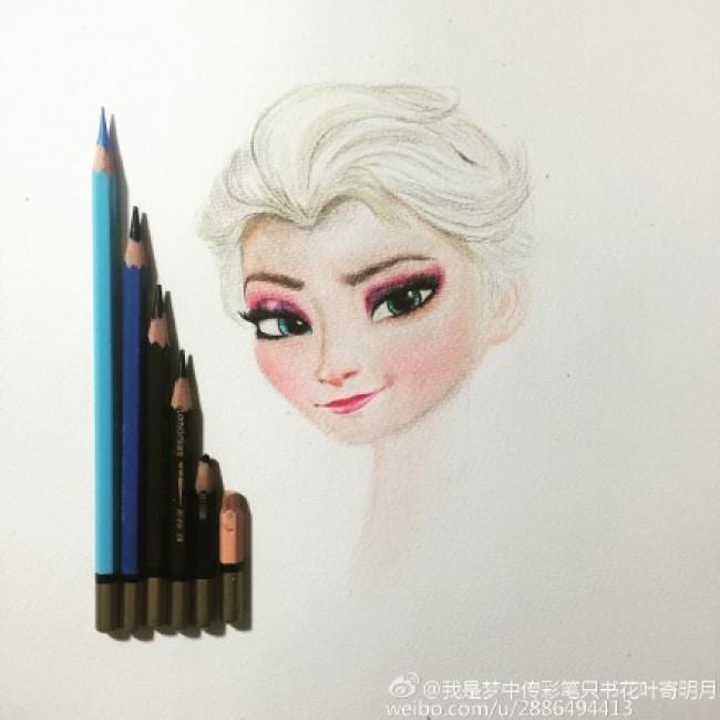 冰雪奇缘艾莎公主彩铅画教程 安娜艾莎手绘教程图片 安娜艾莎画法怎么