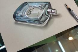 超逼真立体3D效果玻璃香水瓶彩铅画教程 玻璃香水瓶怎么画 彩铅画法