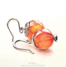 珠宝耳环彩铅画教程 珠子耳环彩铅手绘教程图片 耳环彩铅怎么画 首饰画法