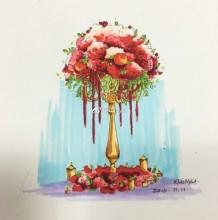 婚礼现场桌花马克笔手绘图片 婚礼方案花卉马克笔造型设计案例
