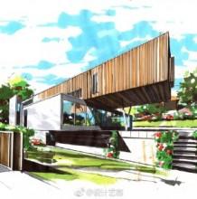 马克笔现代别墅建筑效果图手绘图片 很漂亮的上色