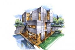 单体现代别墅建筑马克笔手绘效果图教程 带上色步骤线稿 水泥板外墙
