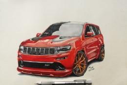 红色赛车马克笔手绘教程图片 带上色步骤和线稿