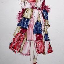 毛绒大衣质感马克笔上色教程 服装设计马克笔手绘教程图片 有线稿
