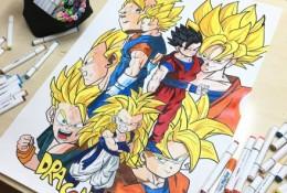 精美七龙珠人物插画漫画手绘教程图片 超级赛亚人马克笔上色 有线稿