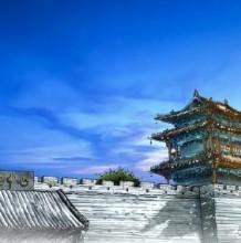 蓬莱阁马克笔建筑手绘效果图图片 蓬莱阁马克笔上色 带线稿