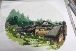 福建桂峰村古村落马克笔建筑风景效果图手绘教程图片 带上色步骤和线稿
