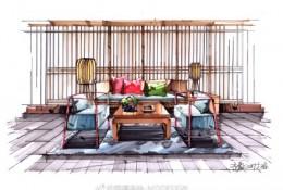 中式组合沙发马克笔手绘教程图片 带线稿和上色成图对比