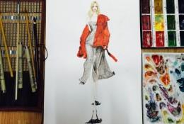 跟着女模特画服装效果图片 照片和马克笔手绘设计作品对比