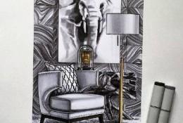 写实风格室内设计效果图马克笔手绘作品图片 很逼真的效果