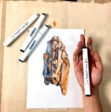 石头的肌理效果马克笔上色示范 逼真好看的石头效果马克笔上色教程图片