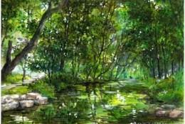 绿意盎然的春季森林风景马克笔手绘教程图片 树木小溪河流效果图