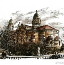 天津标志性建筑马克笔手绘效果图图片欣赏 天津知名建筑手绘图片
