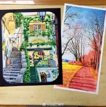 欧洲街景建筑风景手绘效果图教程 马克笔上色步骤过程图片 带线稿上色