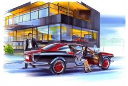 汽车马克笔手绘效果图 上色和阴影关系冷暖关系 带场景图片 精美欣赏