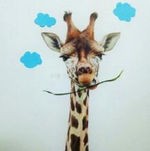 长颈鹿彩铅画_长颈鹿儿童画_长颈鹿拼贴画_长颈鹿简笔画_长颈鹿漫画教程作品 ...