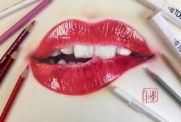 女生轻咬嘴唇特写彩铅画手绘教程图片 性感烈焰红唇的画法 红唇怎么画