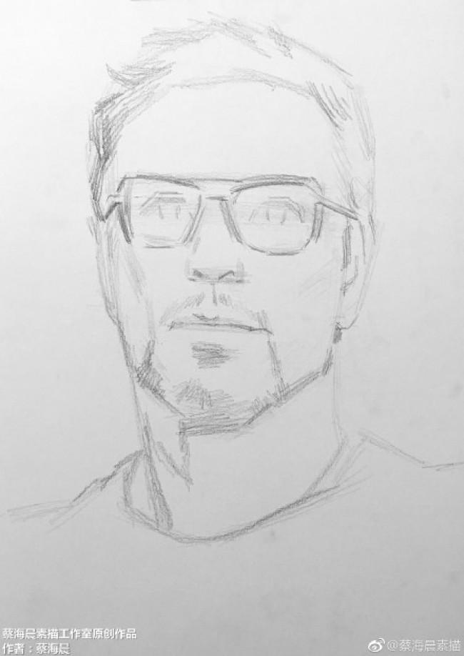 《钢铁侠》斯塔克 小罗伯特·唐尼 素描画图片 钢铁侠