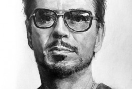 《钢铁侠》斯塔克 小罗伯特·唐尼 素描画图片 钢铁侠演员明星手绘教程