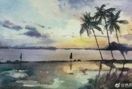 黄昏沙滩风景水彩画图片 黄昏海边棕榈树背阴浪漫水彩画手绘教程