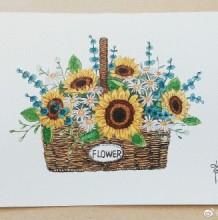 明媚的一篮子向日葵画水彩画图片 向日葵花篮手绘教程 向日葵水彩怎么画 画法