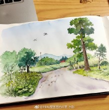 乡村小路田园风景水彩画图片 乡下乡野气息水彩手绘教程 画法