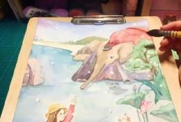 暖心水彩插画 小女孩,大象,猫咪 温馨的水彩手绘教程 上色