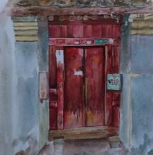 中式传统门楼水彩画图片 传统大红木门手绘教程 传统旧木门怎么画 画法