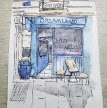 小清新杂货铺小店面门头水彩画图片 简单稳性店铺水彩手绘教程 上色 画法