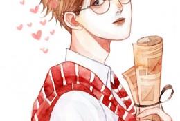 英俊帅气帅哥水彩人物插画图片 戴眼镜的小哥哥插画手绘水彩上色教程