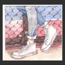 牛仔水彩帆布布鞋水彩画图片 运动鞋小白鞋手绘教程 帆布鞋怎么画 画法