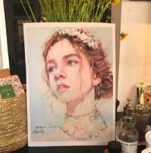 唯美又性感的姑娘水彩画图片 美女头像人物肖像水彩手绘教程 上色步骤