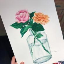 插在玻璃瓶里的玫瑰花水彩画图片 玻璃花瓶里的玫瑰花水彩手绘教程 上色步骤
