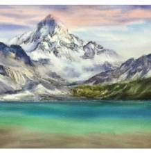 雪山山峰湖泊湖水风景水彩画图片 山峰风景水彩画手绘教程 雪山画法