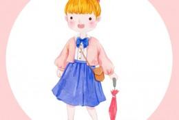 可爱萌系森女水彩画图片 Q版唯美小女生人物水彩画素材 可做头像