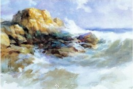 海岸边风景水彩画图片 海水拍打礁石水彩画图片作品欣赏