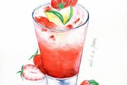 玻璃杯草莓果汁水彩画图片 草莓果汁水彩画手绘教程 画法