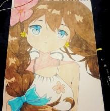 马克笔超可爱萌妹子麻花辫吊带衫动漫人物插画手绘教程图片