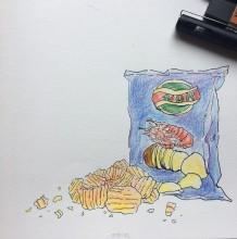 薯片彩铅画图片 简单的薯片简笔画彩铅画手绘教程 薯片怎么画 画法