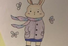 可爱萌的小兔子彩铅简笔画图片 穿衣服带围巾的小兔子手绘教程