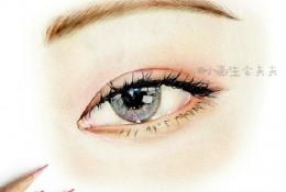 好看精美的女性眼睛彩铅画图片 非常有神美丽的女生眼睛带眉毛彩铅手绘教程
