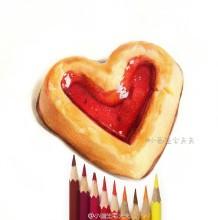 爱心面包彩铅画图片 爱心果酱曲奇美味甜点彩铅手绘教程图片