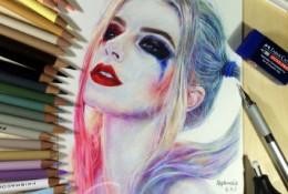 小丑女彩铅画图片 小丑女彩铅画手绘教程 小丑女的画法 小丑女彩铅画怎么画