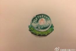 啤酒瓶盖子彩铅画图片 啤酒瓶盖子彩铅画手绘教程 酒瓶盖怎么画 画法