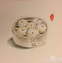 小笼包彩铅画图片 蟹黄小笼包彩铅手绘教程 小笼包彩铅怎么画 画法