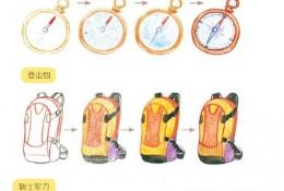 飞鸟乐户外运动用品彩铅简笔画手绘教程图片 指南针 登山包 瑞士军刀画法