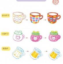 三款简单可爱的杯子彩铅画图片 杯子彩铅手绘教程 杯子的画法 怎么画