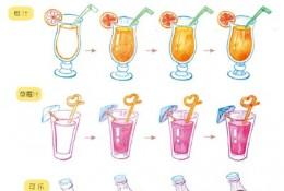 各种饮料彩铅画图片 饮料彩铅画简笔画手绘教程 橙汁 草莓汁 可乐画法 怎么画